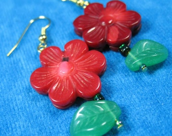 Red Bamboo Coral Flowers Dangle earrings