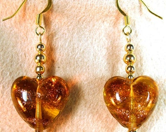 Golden Honey Colored Glass Hearts with Sparkle Stripes Dangle Earrings