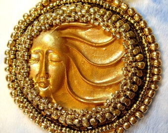 OOAK Golden Polymer Clay Goddess Pendant Bead Embroidered Necklace