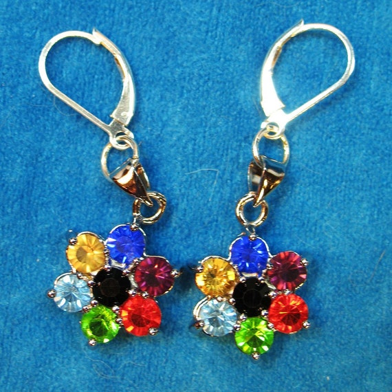 Rainbow Joy Sparkling Dangle Earrings with Sterling Silver Lever Earwires