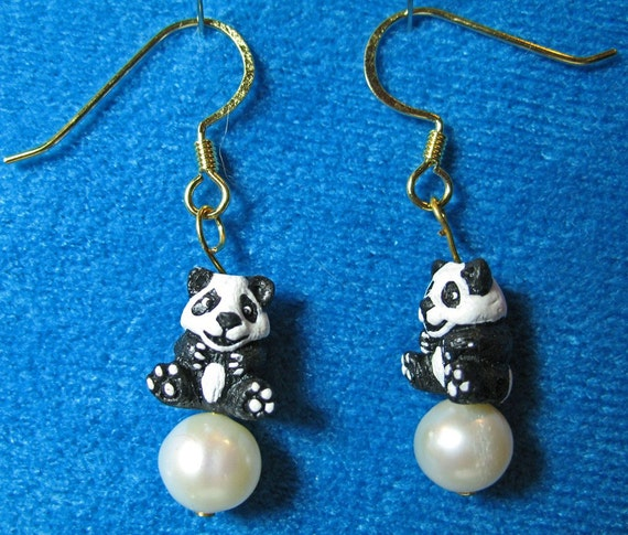 Tiny Detailed Ceramic Panda Bear Beads with Freshwater Pearls Dangle Earrings
