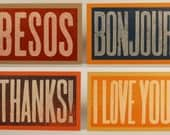 Besos, Thank You, I Love You, Bonjour - Set of Four oversized Hand Printed Letterpress Cards