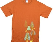 TREES Tee Shirt Illustrated Burnt Orange Adult Tshirt with screen printed design on front gift for men nature lovers hikers mountains