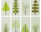 SPRING Green TREES Letterpress Prints with Envelopes cards holiday