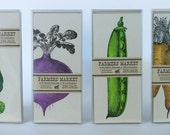 4 PACKS of FARMERS MARKET 32 letterpress cards with envelopes carrot pea artichoke beet