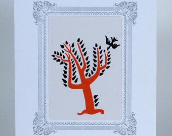 JIM FLORA Red TREE in White Vignette Hand Printed Letterpress Matted Print