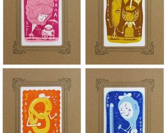 4-Pack of CARNIVAL TREATS in Kraft VIGNETTES Hand Printed Letterpress Turkey Leg, Cotton Candy, Corn Dog, Candy Apple, Pretzel