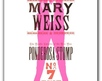 MARY WEISS Hand Printed Letterpress Show Poster
