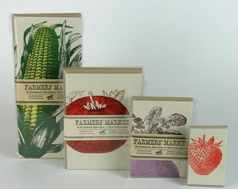 Garden Greeting Cards, letterpress cards, garden gift, farmers market cards, gift for cooks, southern kitchen cards, vegetable note cards