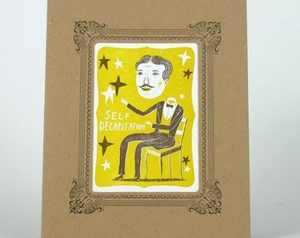 SELF DECAPITATION magician Letterpress Print in a Kraft Letterpress Vignette Mat