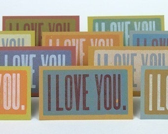 I LOVE YOU Mini Cards Letterpress with envelopes 20 pack