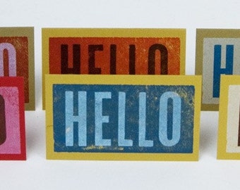 20 HELLO tiny note Cards Letterpress hand printed with envelopes assorted colors wood type greeting stocking stuffer gift tags