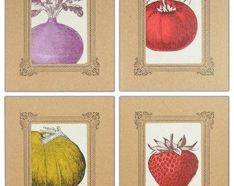 FARMERS MARKET 4 Pack in Kraft Vignettes Letterpress Printed Pumpkin Strawberry Tomato Beet