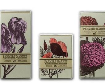 FARMERS MARKET FLOWER Cards 56 Cards Letterpress Printed Poppy Iris Lily Hydrangea Zinnias