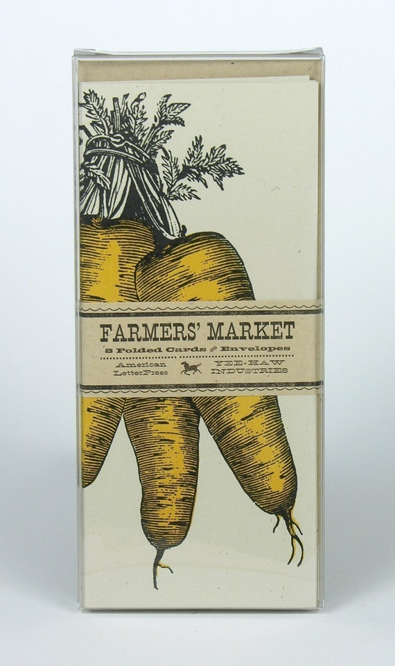 CARROT GREETING CARDS Farmers Market Letterpress By