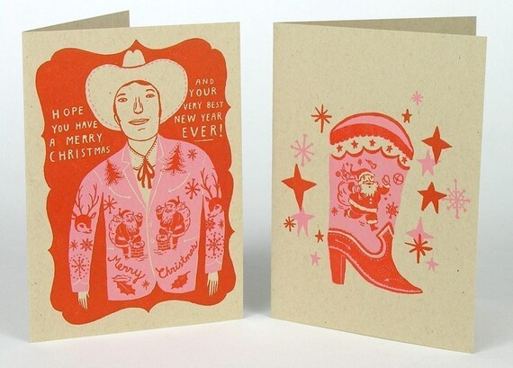 SANTA WESTERN SUIT and Cowboy Boot letterpress Cards with envelopes 4 pack red pink