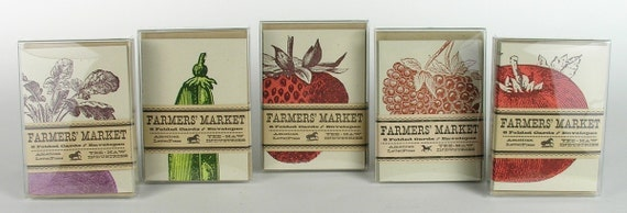 5 packs of SMALL FARMERS MARKET 32 letterpress cards with envelopes a4
