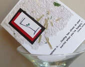 Handmade Greeting Card with Martini Quote by Johnny Carson