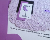 Handmade Greeting Card with Wine Quote by Ernest Hemingway