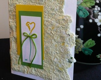 Personalized Note Card Set with Handmade Paper and Unique Hand Painted Heart Flower Design