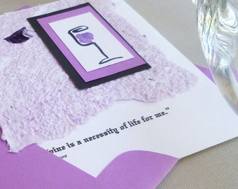 Handmade Greeting Card with Wine Quote by Thomas Jefferson
