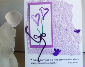 Wedding or Anniversary Quote with Handmade Paper and Hand Painted Heart Flowers