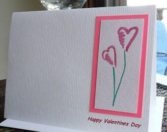 Pink Heart Flower Valentines Day Card