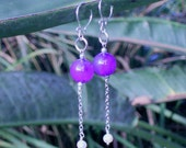 Sterling silver purple agate and white pearl dangle earrings