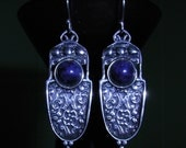Vintage antique Art Nouveau design lapis lazuli sterling silver earrings