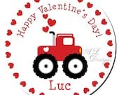 Personalized Valentine Stickers - Monster Truck - Valentine Party, Personalized Labels, Valentine Labels, Boy Valentine - Choice of Size