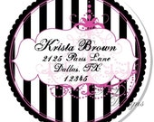 Personalized Stickers -- Stripes and Chandelier -- Personalized Address Labels, Personalized Labels, Birthday Party Favor -- Choice of Size