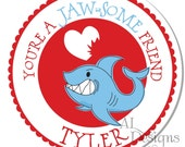 Personalized Valentine Stickers - Shark - Valentine Stickers, Personalized Labels, Valentine Labels, Valentine Party - Choice of Size