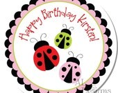 Personalized Birthday Stickers -- Ladybugs -- Personalized Shower Labels, Personalized Labels, Thank You Stickers -- Choice of Size