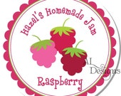 Personalized Stickers -- Sweet Raspberries -- Personalized Canning Labels, Preserves Labels, Jam Stickers -- Choice of Size