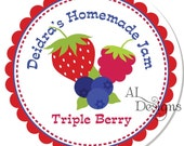 Personalized Stickers -- Mixed Berry -- Personalized Canning Labels, Preserves Labels, Jam Stickers -- Choice of Size