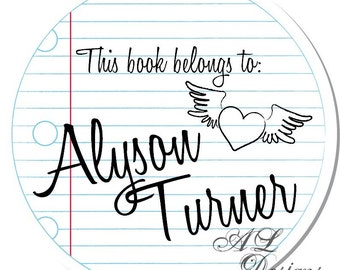 Personalized Stickers -- Lined Paper -- Personalized Labels, Personalized Girl Stickers, Personalized Book Label -- Choice of Size
