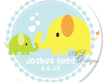 Personalized Stickers -- Baby and Mama Elephant -- Address Label, Personalized Labels, Party Favor -- Choice of Size