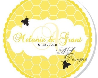 Personalized Stickers -- Honeycomb Wedding Monogram -- Personalized Stickers, Labels, Wedding Stickers, Wedding Favors -- Choice of size