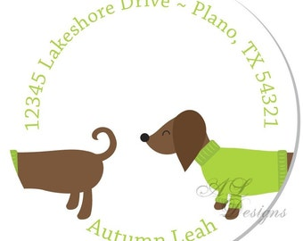 Personalized Stickers -- Dachshund -- Personalized Address Sticker, Personalized Address Label -- Choice of Size