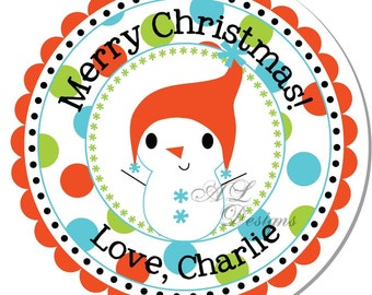 Personalized Christmas Sticker -- Snowboy -- Personalized Sticker, Christmas Address Label, Christmas Sticker, Holiday -- Choice of size