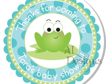 Personalized Stickers -- Boy Frog -- Personalized Labels, Personalized Shower Stickers, Personalized Childrens Label -- Choice of Size