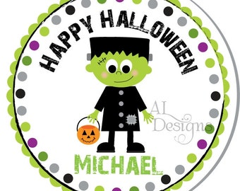 Personalized Halloween Stickers -- Frankenstein Stickers -- Personalized Stickers, Halloween Labels, Halloween Stickers-- Choice of size