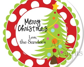 Personalized Christmas Stickers --  Christmas Tree -- Christmas Labels, Personalized Stickers, Christmas Party Favors - Choice of Size