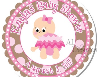Personalized Baby Shower Stickers -- Baby Girls -- Personalized Labels, Address Labels, Shower Labels -- Choice of Size