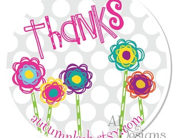 Personalized Stickers -- Funky Flowers -- Personalized Labels, Personalized Shower Stickers, Personalized Childrens Label -- Choice of Size