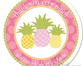 Personalized Stickers -- Pineapples -- Personalized Labels, Personalized Party Stickers, Personalized Childrens Label