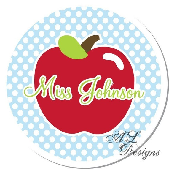 Personalized Stickers -- Polkadot Apple -- Personalized Teacher Labels, Teach Gift, Party Favor Stickers -- Choice of Size