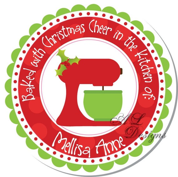 Personalized Christmas Stickers - Kitchen Mixer - Personalized Sticker, Christmas Address Label, Christmas Sticker -- Choice of size