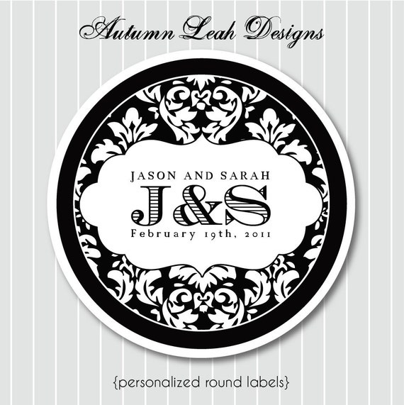 Personalized Stickers -- Damask Wedding Monogram  -- Personalized Stickers, Labels, Wedding Stickers, Wedding Favors -- Choice of size