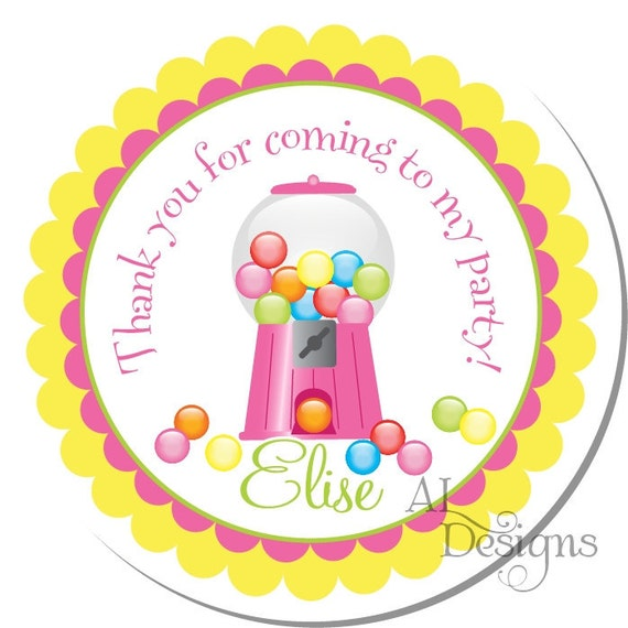 Personalized Birthday Stickers -- Gumball Machine -- Personalized Shower Labels, Personalized Labels, Thank You Stickers -- Choice of Size